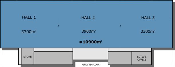 Hall 1 plus Hall 2 plus Hall 3
